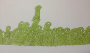 Book illustration with a crowd of green lizards, some standing on each others heads, to get a view of something happening of the paper on the right hand side