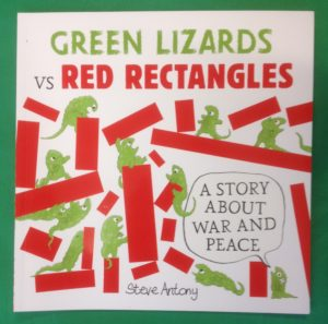 Mix of green lizards standing, crawling and fighting some red rectangles