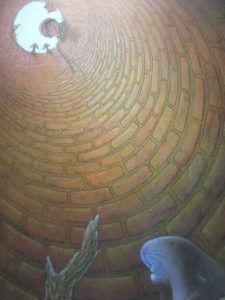 Illustration of a rabbit stuck down a well
