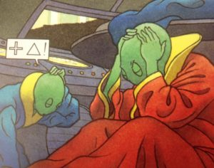Two green aliens in their spaceship with their heads in their hands